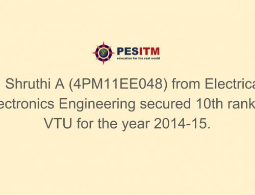 Shruthi A secures 10th rank in B.E Electrical Engineering, VTU
