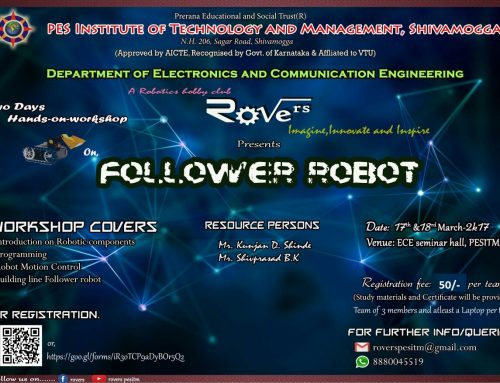 """Workshop on """"Follower Robot"""" ,17th &18th March-2017"""