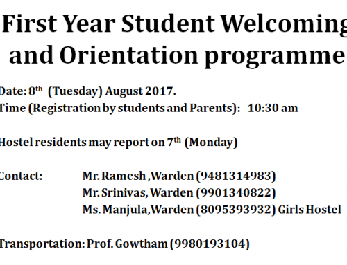 First Year Student Welcoming and Orientation programme