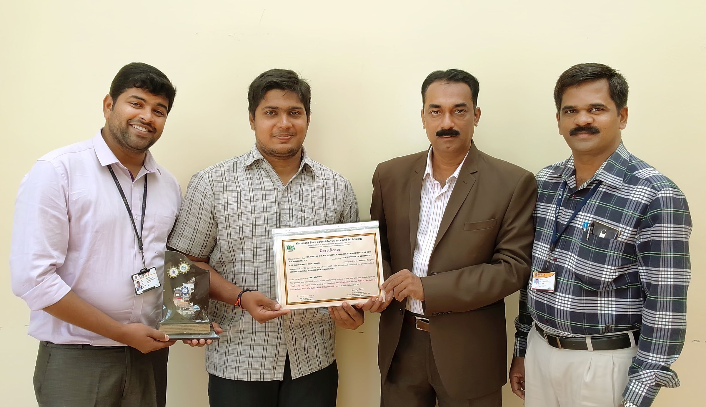 Project of the Year AwardfromKarnataka State Council for Science and Technology(KSCST)