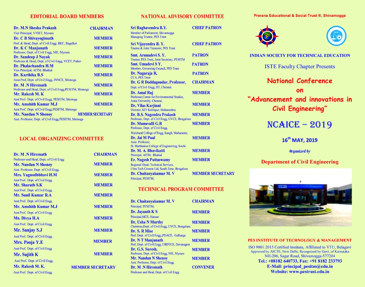 National Conference on Advancement and Innovations in Civil Engineering