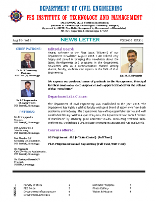 Newsletter Volume 2 Issue 1 August 2018-January 2018