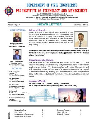 Newsletter Volume 2 Issue 2 February 2019-July 2019