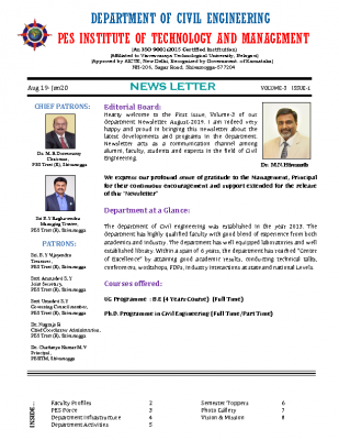 Newsletter Volume 3 Issue 1 August 2019-January 2020