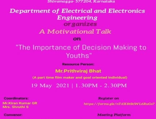 """Motivational Talk on """"The Importance of Decision Making to Youths"""" on 19/05/2021"""